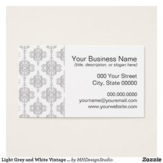 Shop Light Grey and White Vintage Damask Business Card created by MHDesignStudio. Art Business Cards, Business Names, Visual Identity, Damask, Grey And White, Slogan, Things To Come, Prints, Vintage