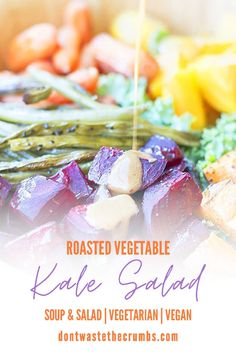 This roasted vegetable kale salad is flexible, naturally vegetarian & vegan. It's delicious with root veggies, carrots, quinoa, and a creamy Asian dressing! This kale salad is an easy vegan recipe that's perfect for meal prep or as a holiday side dish. It's healthy and delicious! This roasted vegetable kale salad is a hearty and healthy lunch idea or easy healthy dinner recipe! Get this healthy kale salad recipe and more at Don't Waste the Crumbs. #summersalads #pastasaladrecipes #summermeal Allergy Free Recipes, Vegetarian Recipes Easy, Easy Healthy Dinners, Lunch Recipes, Easy Dinner Recipes, Real Food Recipes, Roasted Veggie Salad, Kale Quinoa Salad, Kale Salad Recipes