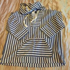 BRAND NEW J CREW STRIPED HOODIE S J crew sweatshirt style pullover with navy base and white stripes; boxy cut with thick durable fabric unlike usual sweatshirts; 3/4 sleeve and slightly cropped front; rope tie strings with gold eye holes; size SMALL-NEVER WORN J. Crew Jackets & Coats