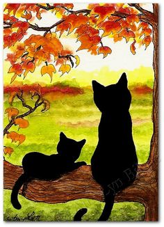 Black Cats in Autumn 18 Fall Landscape Art by AmyLynBihrle