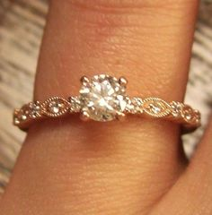 Rose gold absolutely beautiful!! I love the vintage look it just makes the ring even that more perfect.