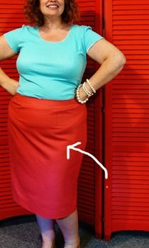 Quick tip: Pencil skirts and those pesky top of the thigh folds (tilted waist adjustment)…   The Snug Bug