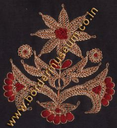 Also known as Abha work and Kashmiri Tilla work. Made with Golden/ Silver/ Antique Zari Thread (Kasab/ Tilla)