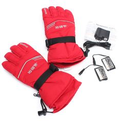 3.7V 2000MA 45° Electric Heated Warmer Gloves Motorcycle Motorbike Red Size M-XL Euro 30,45