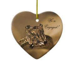 Princess Diamond Engagement Heart Ornament