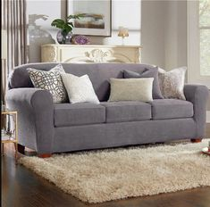 Ultimate Stretch Chenille Four Piece Sofa Slipcover Tire Furniture, Furniture Covers, Sofa Covers, Cushion Cover Designs, Cushion Covers, Custom Slipcovers, Home Furnishings, Love Seat, Cushions