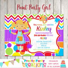 This listing is for a personalized PAINT PARTY invitation with or without a photo. YOU PRINT. This is a digital file that will be sent to you upon purchase for you to print. Paint Party, Perfect Party, 5th Birthday, All Design, Party Invitations, Rsvp, Party Supplies, Pottery, Etsy Shop