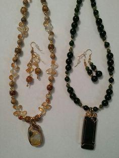 Left: Fire Opal, Citrine, Carnelian & Jasper, 14KGF. Left: Nephrite Jade & 14KGF. Both are sold.