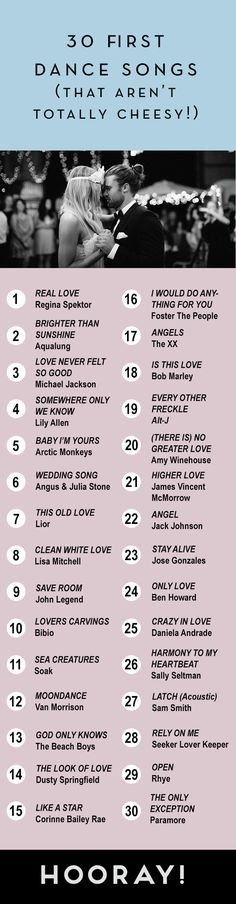30 First Dance Songs (That Aren't Totally Cheesy!) | Wedding Music Ideas and Inspiration | HOORAY! Mag Wedding Dj, Wedding Wishes, Wedding Goals, Wedding Ideas, Wedding Ceremony, Wedding Engagement, Wedding Decorations, Wedding Planner Uk, Wedding Planning