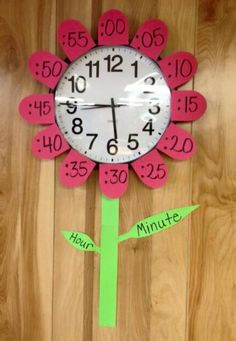Flower clock teaching time telling Learn To Tell Time, Teaching Time, Homeschool Math, Homeschooling, Kids Education, Fun Learning, Clock Learning For Kids, Learning Spanish, Preschool Activities