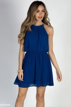 Sleeveless Strappy Short Cute Royal Blue Chiffon Dress with Cinch Waist