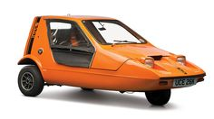 The infamous Bond Bug, a fiberglass-bodied three-wheeler from Britain in the seventies.