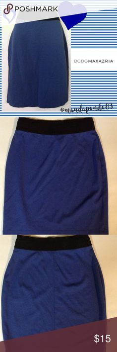 BCBGMaxAzria  Blue Cody Con Skirt GUC and oh so sexy! Blue bottom with black banded waist. Measurements upon request. BCBGMaxAzria Skirts Midi