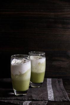 Iced matcha coconut latte