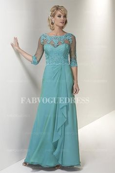 Sheath/Column Scalloped Floor-length Chiffon Lace Mother of the Bride Dress