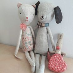 Maileg kitty kat & mini doggy Softies, Maileg Bunny, Childrens Dolls, Tips & Tricks, Toy Organization, Woodland Animals, Diy Toys, Handmade Toys, Little Ones