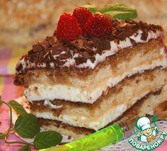 Швейцарский торт- слив. сыр, сливки, какао, коньяк, кофе, шоколад, б. шоколад, джем