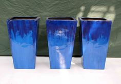 3 blue fibreglass 2 tone planters 32cm square x 55cm tall