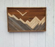 Reclaimed Wood Wall Art Mountains Decor Lath Art by PastReclaimed