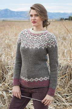 Create this knitted pullover pattern featuring the stranded knitting method that provides a flattering fit to whoever wears it. Create this knitted pullover pattern featuring the stranded knitting method that provides a flattering fit to whoever wears it. Fair Isle Knitting Patterns, Fair Isle Pattern, Sweater Knitting Patterns, Knitting Stitches, Knitting Designs, Knit Patterns, Pullover Design, Sweater Design, Vogue Knitting