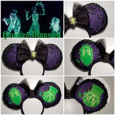 Haunted Mansion Mouse ears made from haunted mansion wallpaper fabric and two glow in the dark hitchhiking ghosts Diy Disney Ears, Disney Mickey Ears, Disney Diy, Disney Trips, Haunted Mansion Wallpaper, Hitchhiking Ghosts, Disney Ideas, Disney Shirts, Disney Inspired