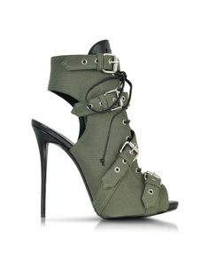 Giuseppe Zanotti Military Green Canvas and Leather Sandal at FORZIERI