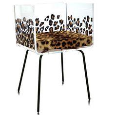Acrylic Cali Leopard with Acrila cushion Chair