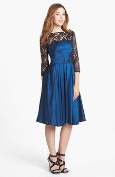 Maggy London Lace Yoke Taffeta Fit & Flare Dress