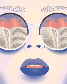 Reflejo lector (ilustración de Elsa Jenna) #biblioteques_UVEG