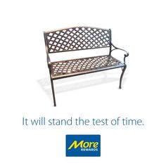 This lightweight Cast Aluminum Bench will be a stylish addition to any outdoor space.  Find out more: https://www.morerewards.ca/catalogue/die-cast-aluminum-bench