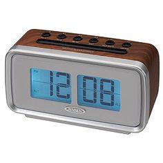 "Jensen AM/FM Dual Alarm Clock Radio with Digital Retro ""Flip"" Display - Brown Radio Alarm Clock, Digital Alarm Clock, Emerson Radio, Desktop Clock, Tabletop Clocks, Cool Clocks, Thing 1, Time Clock"