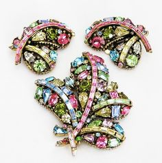 Hollycraft is my very favorite Vintage Jewelry! This one is for sale at:    http://www.etsy.com/listing/58506852/hollycraft-1955-pastel-bow-demi-parure  #vintage