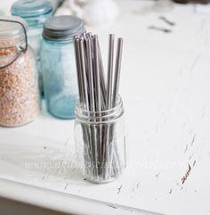 Set of 4 Wide Eco Friendly Stainless Steel Straws DIY Weddings, Parties, Everyday. Keeps drinks cool - amazing.