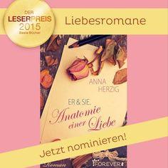 """Auch Anna Herzig steht mit ihrem zauberhaften """"Er & Sie - Anatomie einer Liebe"""" zur Wahl für den Lovelybooks Leserpreis. Aber nur noch bis morgen! """"wink""""-Emoticon Zur Nominierung: http://www.lovelybooks.de/…/2015/nominierungen/liebesroman/…"""