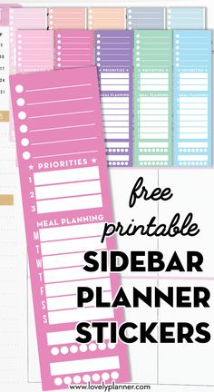 10 Free Printable Full Side Bar Planner Stickers for Classic Happy Planner, with space to write: weekly to-do, top 3 goals, meal plan, habit trackers. Planner Layout, Goals Planner, Free Planner, Planner Pages, Happy Planner, Planner Journal, Passion Planner, Budget Planner, Monthly Planner