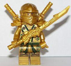 the gold ninja   LEGO NINJAGO GOLD LLOYD MINIFIGURE GOLDEN DRAGON SWORD NINJA SWORDS X2 ..