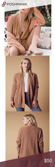 🆕Tan Ribbed Oversized Knit Cardigan Oversized sweater featuring pockets at front and ribbing at edges. Original manufacturer label still attached - by Cotton Candy LA. Nasty Gal Sweaters Cardigans