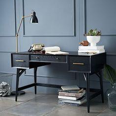 Mid-Century Desk - Black #westelm --- too much like a desk?