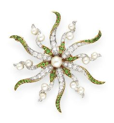 AN ANTIQUE DIAMOND, DEMANTOID GARNET AND PEARL BROOCH   Centering upon a pearl pistil, extending old European-cut diamond and circular-cut demantoid garnet petals with pearl accents, mounted in platinum-topped gold, circa 1890, with maker's mark