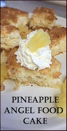 Pineapple Angel Food Cake, just two ingredients. Sweets Cake, Cookie Desserts, Just Desserts, Cupcake Cakes, Pineapple Angel Food, Pineapple Recipes, Cake Mix Recipes, Dessert Recipes, Muffins