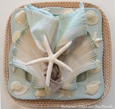 DIY Starfish Napkin Ring Pottery Barn Knock-off Pottery Barn, Pottery Studio, Napkin Folding, Beach Crafts, Shell Crafts, Coastal Decor, Coastal Living, Coastal Cottage, Coastal Style