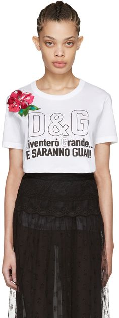 Dolce   Gabbana - White Floral T-Shirt 1a0c7153c11