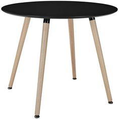 Track Circular Round Top Beechwood Legs Dining Table in Black