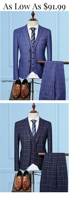 Chic office look in this trendy three piece men suit. A real gem in black, blue and navy blue colours at $91.99. Click to shop.
