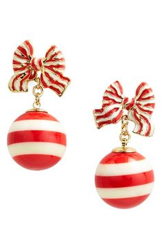 How fun would these Kate Spade earrings be during the holiday season? These dainty drop earrings are sweet and playful with red-and-white baubles and bow studs. 14k Earrings, Drop Earrings, White Baubles, Bow Jewelry, Kate Spade Earrings, Gold Christmas, Christmas Candy, Making Ideas, Red Stripes