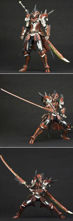 "Hunter Swordsman Laeus Series [Monster Hunter 4] Full Ratholos armor and wyvern blade ""fire"" impressive:"