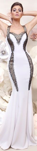 Tarek Sinno ~ Haute Couture White Fitted Mermaid Gown w Black Bead Details 2015 Stunning Dresses, Beautiful Gowns, Elegant Dresses, Pretty Dresses, Sexy Dresses, Beautiful Outfits, Fashion Dresses, Fashion Clothes, Beauty And Fashion