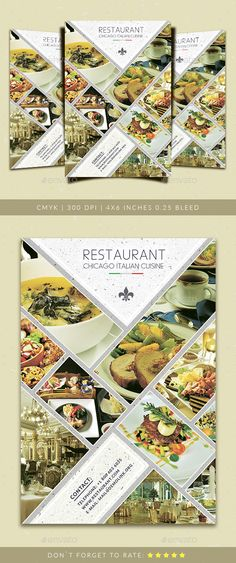 Restaurant Flyer Template by Yoopiart File features: 1 PSD Files Included Smart Object inches with bleeds) CMYK Brochure Design Inspiration, Menu Design, Banner Design, Flyer Design, Design Set, Flyer Restaurant, Restaurant Menu Template, Pizza Flyer, Menu Flyer