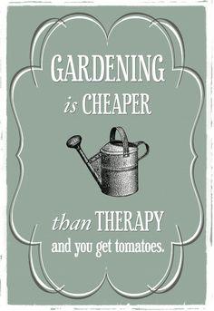 """Ik ben het helemaal met deze spreuk: Tuinieren is goedkoper dan therapie & je krijgt tomaten! """"Gardening is cheaper than therapy and you get tomatoes!"""""""
