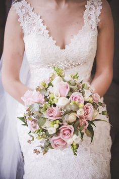 Brisbane bride Kim's bouquet was expertly feminine with baby pink and white roses as well as splashes of greenery. Image by Christopher Thomas Photography Floral Wedding, Wedding Bouquets, Wedding Dresses, White Roses, Brisbane, Floral Arrangements, Greenery, Real Weddings, Florals